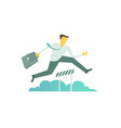 businessman run jumps overcoming the barrier vector image vector image