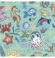 Cartoon Funny Fish Sea Life Doodle seamless vector image