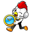 cartoon rooster character holding a table clock vector image