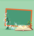 chemical laboratory science lesson with open book vector image