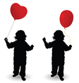 child holding red balloon heart silhouette vector image vector image