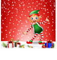 christmas background with happy elf vector image vector image