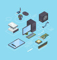 computer parts and connection diagram isometric vector image vector image