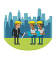 constuction workers geometric cartoons vector image vector image