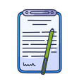 contract document icon in doodle style hand drawn vector image vector image