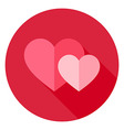 Couple Two Hearts Circle Icon vector image vector image