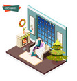cozy winter isometric design concept vector image