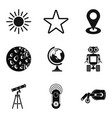exploring the planet icons set simple style vector image vector image