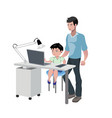 father watching son doing homework vector image vector image