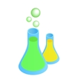 Flasks with liquid isometric 3d icon vector image