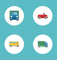flat icons lorry transport omnibus and other vector image vector image