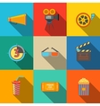 Flat modern cinema movie icons set - projector vector image