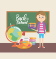 girl with blackboard and global map education vector image vector image
