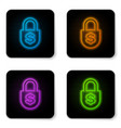 glowing neon money lock icon isolated on white vector image vector image
