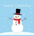 greeting christmas card with a cute snowman vector image vector image