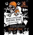 halloween horror party poster with spooky skull vector image vector image