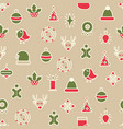 happy christmas symbols seamless pattern vector image vector image