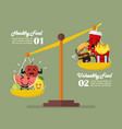 healthy food and junk food balancing on scales vector image vector image