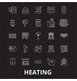 heating editable line icons set on black vector image vector image