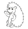 Little cute hedgehog waves and smiles vector image vector image