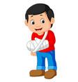 little man with broken arm vector image