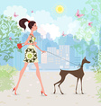 Lovely girl and her dog are walking in the city vector image vector image