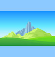 mountains with green field on landscape wallpaper vector image vector image