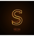 Neon 3D letter S vector image