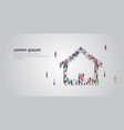 people crowd gathering in home icon shape social vector image vector image