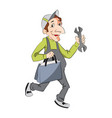 portrait of repairman with toolbox and wrench vector image