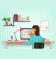 Pretty female designer working with colors at home vector image