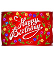 Raster Birthday Card template with flowers on vector image