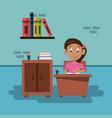 school girl in classroom vector image