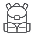 schoolbag line icon rucksack and bag backpack vector image vector image