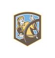 Sea Captain Fisherman Steering Shield Retro vector image vector image