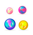 set glossy colorful marble balls on white vector image