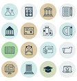 set of 16 school icons includes opened book vector image vector image