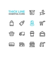 Shopping and Delivery Symbols - thick line design vector image vector image