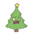 stressed christmas tree cartoon character vector image vector image