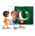 The flag of Pakistan and the basketball players vector image vector image