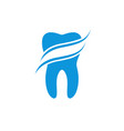 tooth dental logo design with waves represents vector image vector image