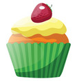 vanilla cupcake with yellow glaze and strawberry vector image