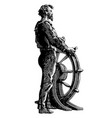 vintage ship captain at helm engraving vector image