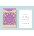 Wedding envelope template with laser cutting vector image vector image