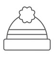 winter hat thin line icon clothing and warm cap vector image vector image