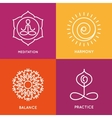 Yoga line symbols in colorful squares vector image vector image
