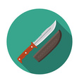 Flat design modern of hunting knife icon camping vector image