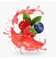 forest mixed berries juice splash realistic