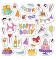 Birthday icons in flat colors style vector image