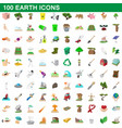 100 earth icons set cartoon style vector image